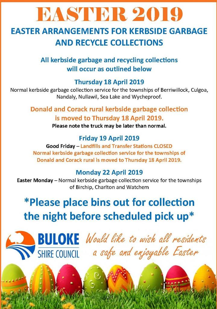 Easter Advert  Waste and Recycle Collections 2019