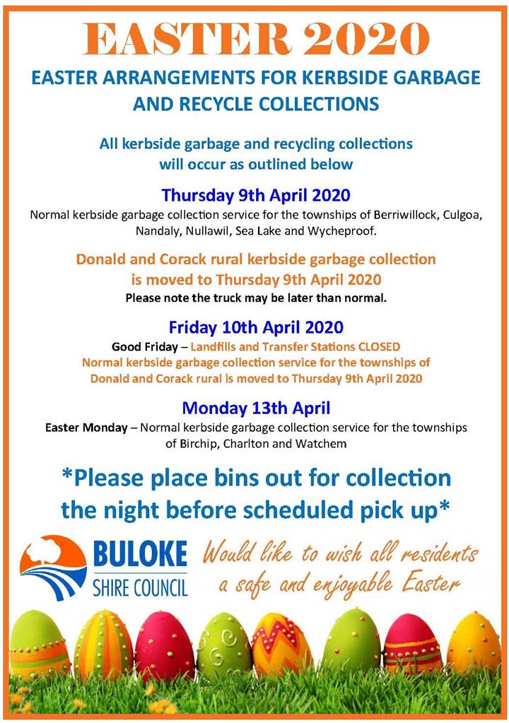 Easter Advert  Waste Recycle Collections 2020