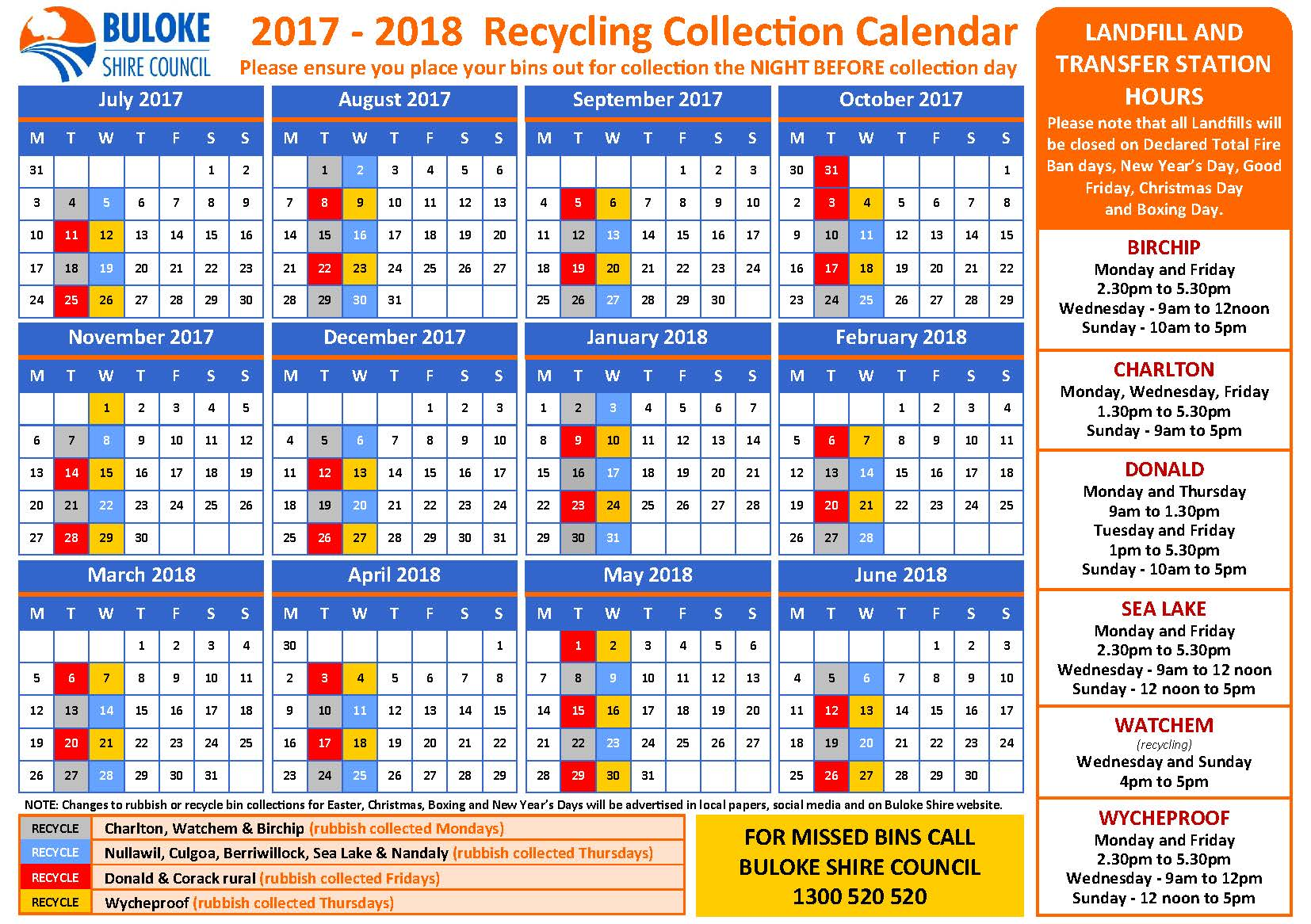 2017-2018 Recycling Collection Calender - FINAL