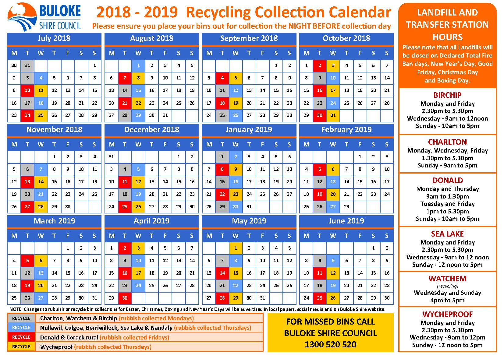 2018-2019 Recycling Collection Calender - FINAL