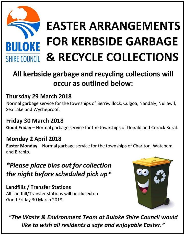 Easter Advert Waste Recycle Collections 2018